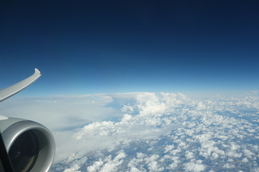 The view from here...Qatar Airways Dreamliner over Europe