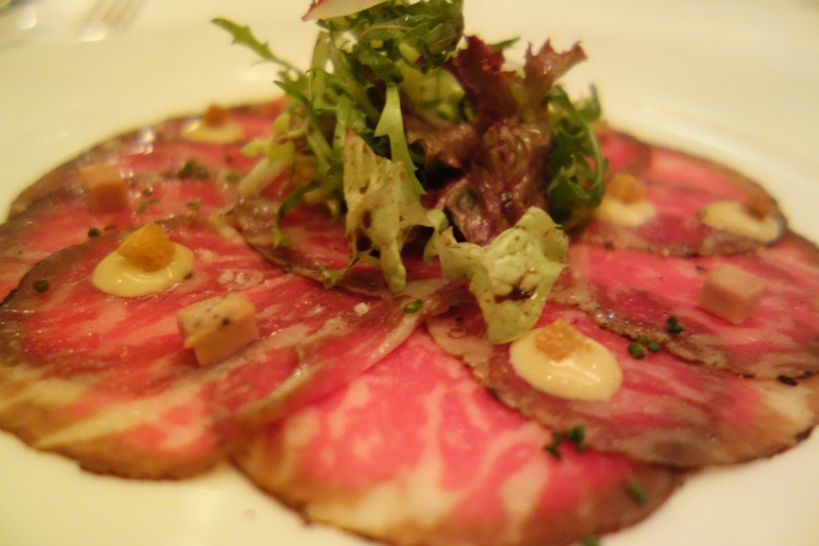 Wagyu Beef carpaccio from a Taste of Summer menu at Gordon Ramsay by Chef Gilles Bosquet