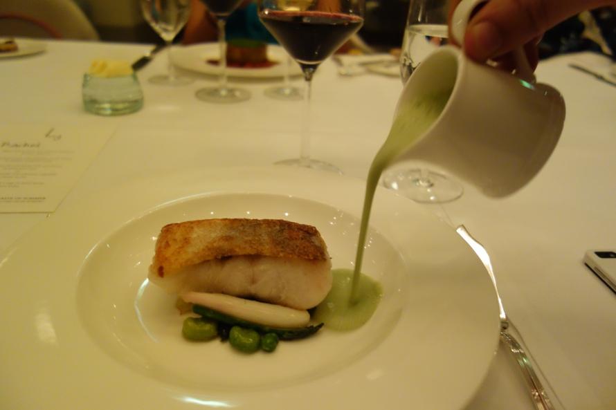 Pan roasted cod with green ea sauce at Gordon Ramsay at St Regis Doha