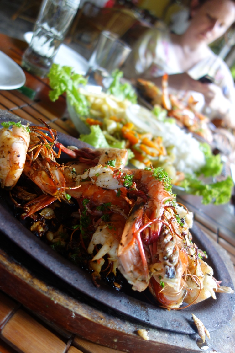 Grilled Prawns at Satsanga in Pondicherry, India