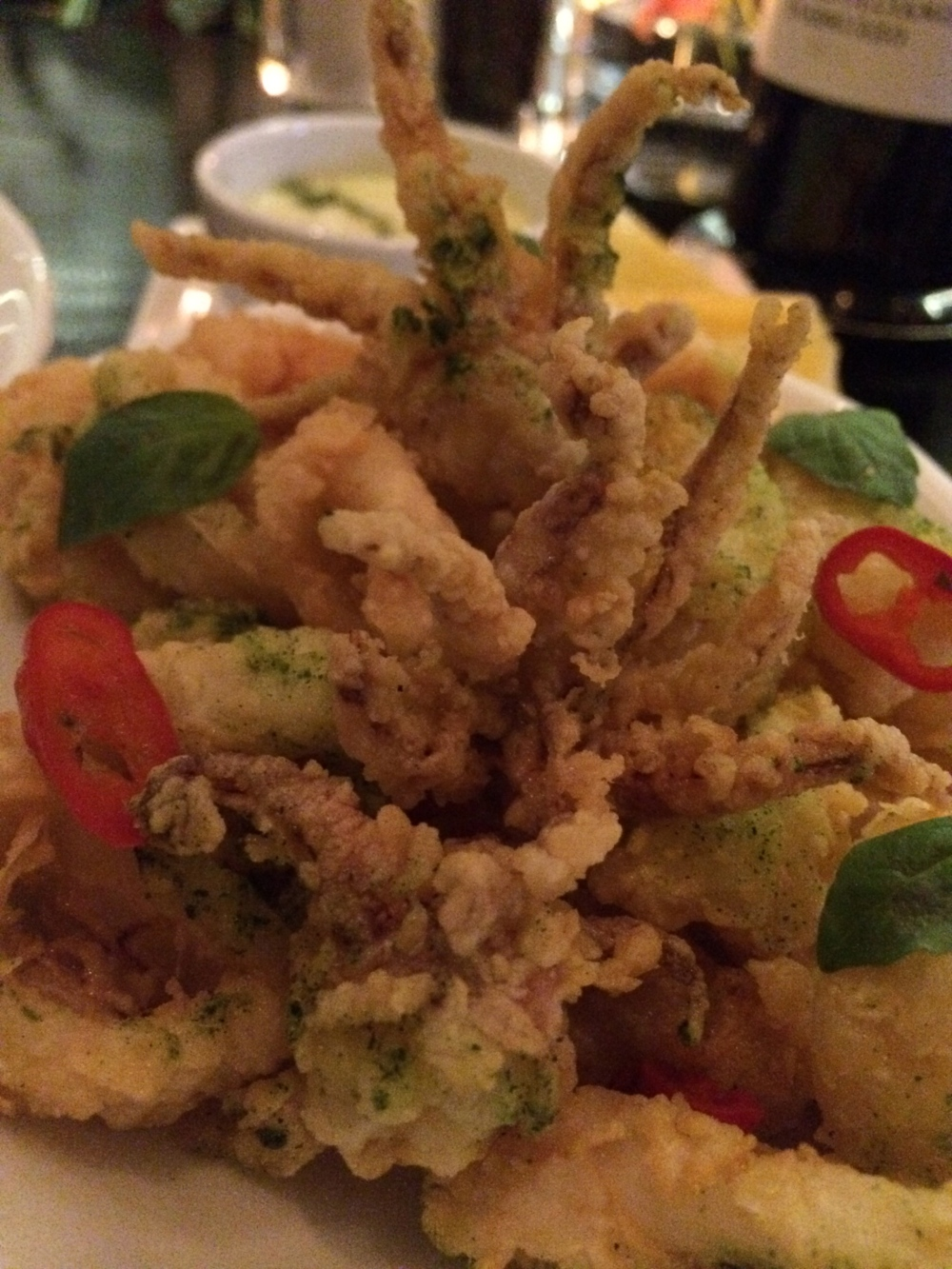 Crispy calamari with basil At W Doha