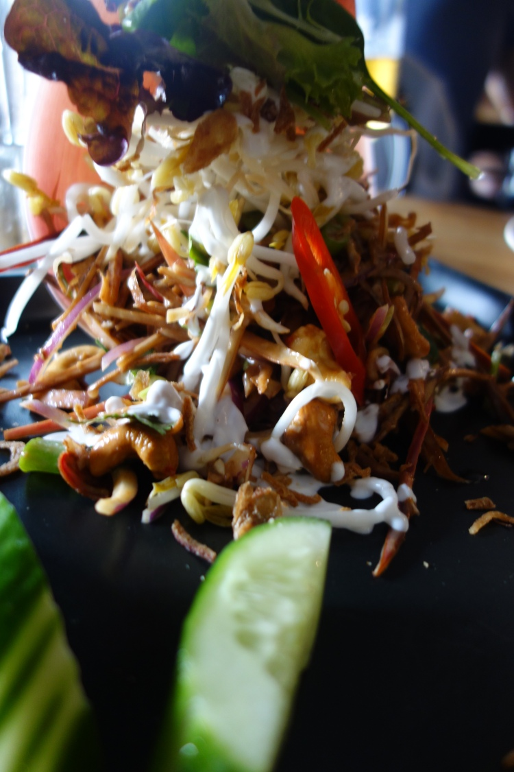Lao banana leaf salad at Green Peppercorn in Fairfield, Sydney