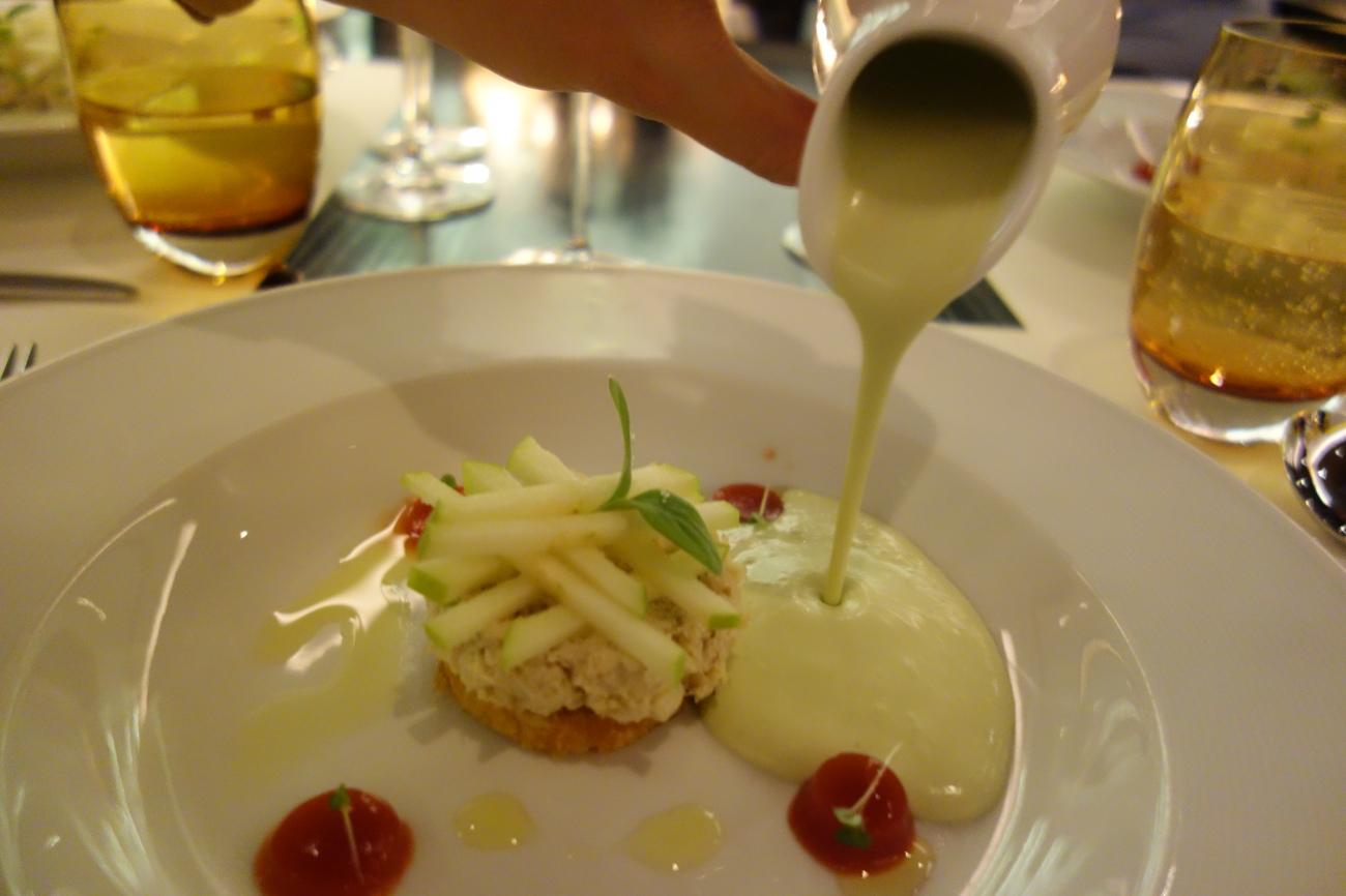 Crab Salad, Apple and Avocado Soup
