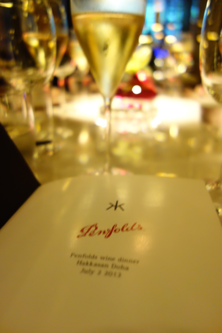 Perusing the menu with a glass of Wolf Blass Yellow Label Sparkling