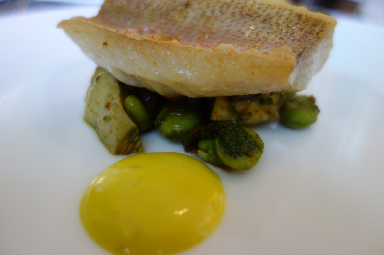Snapper with artichokes and aioli