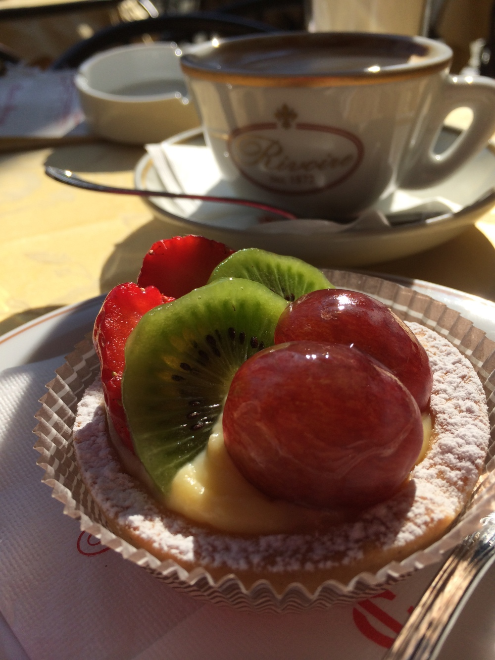 Fruit tart and a coffee overlooking the Uffizi. Turns out this is one of the best known cafes in Florence. I chose it because the waiters were older and the clientele Italian.