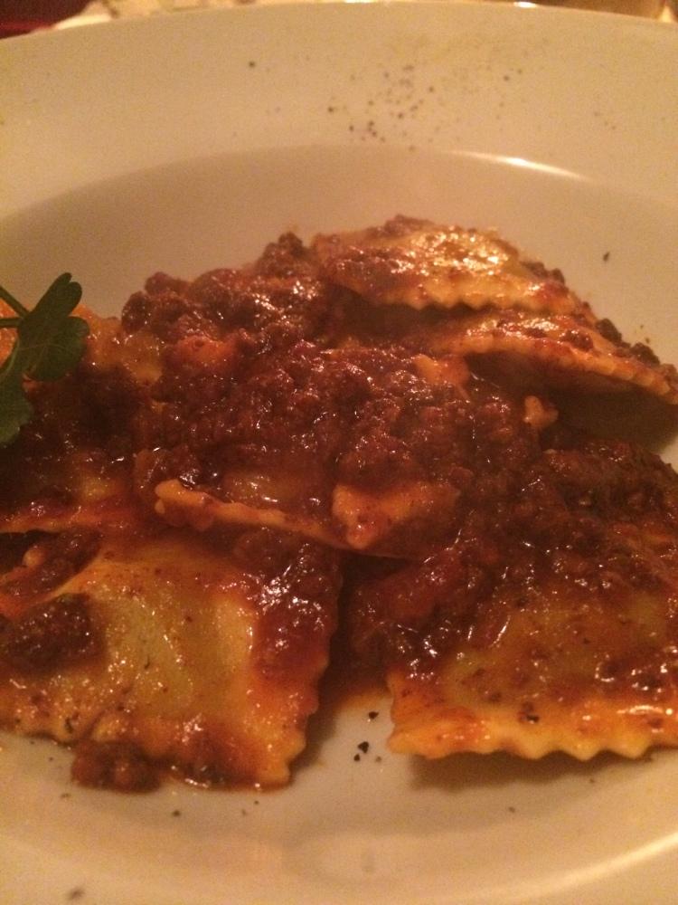 A simple ravioli bolognaise from a tiny restaurant near my hotel.