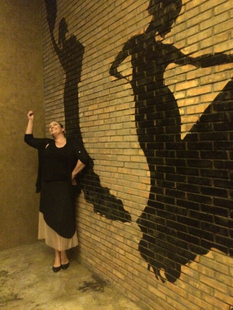 Brooke channeling her inner flamenco dancer. This is actually the ladies' bathroom