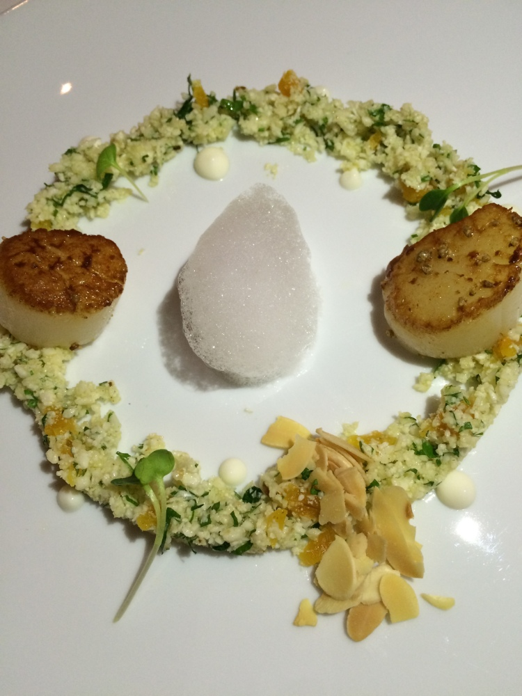 Scallops and cauliflower cous cous